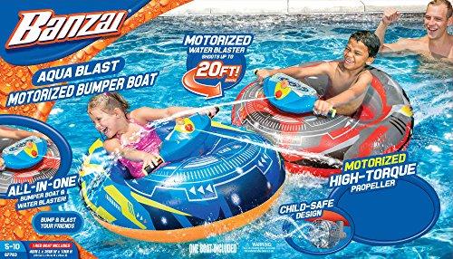 Banzai Aqua Blast Motorized Bumper Boat Blue ( Spring Summer Inflatable Air Water Splash Pool Float Backyard Fun