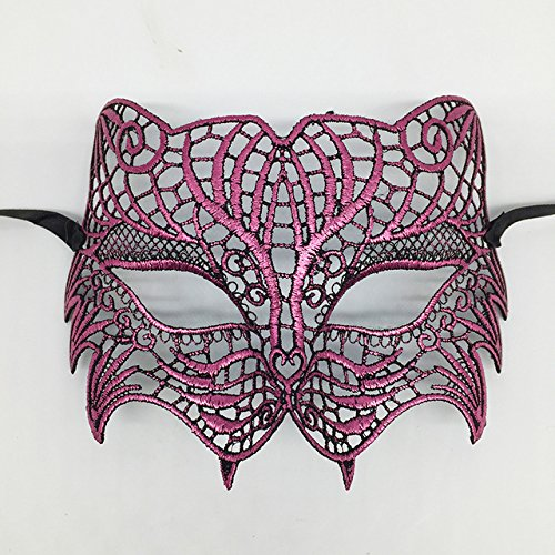 ArMordy(TM) Mysterious Angel Creative New Colors Halloween Masquerade Sexy Lady Lace Mask Hollow Out Catwoman Happy Gifts Tiger[ Plum -