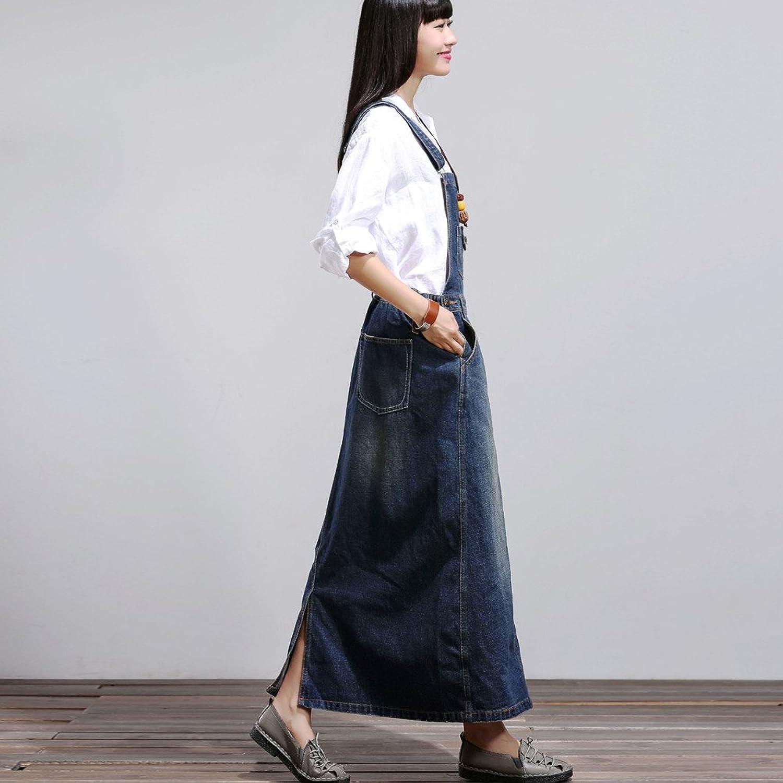 Aeneontrue11 Women's Casual Denim Suspender Skirt
