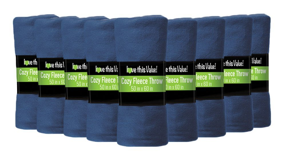 "12 Pack Wholesale Soft Comfy Fleece Blankets - 60"" x 50"" Cozy Throw Blankets (Navy Blue)"