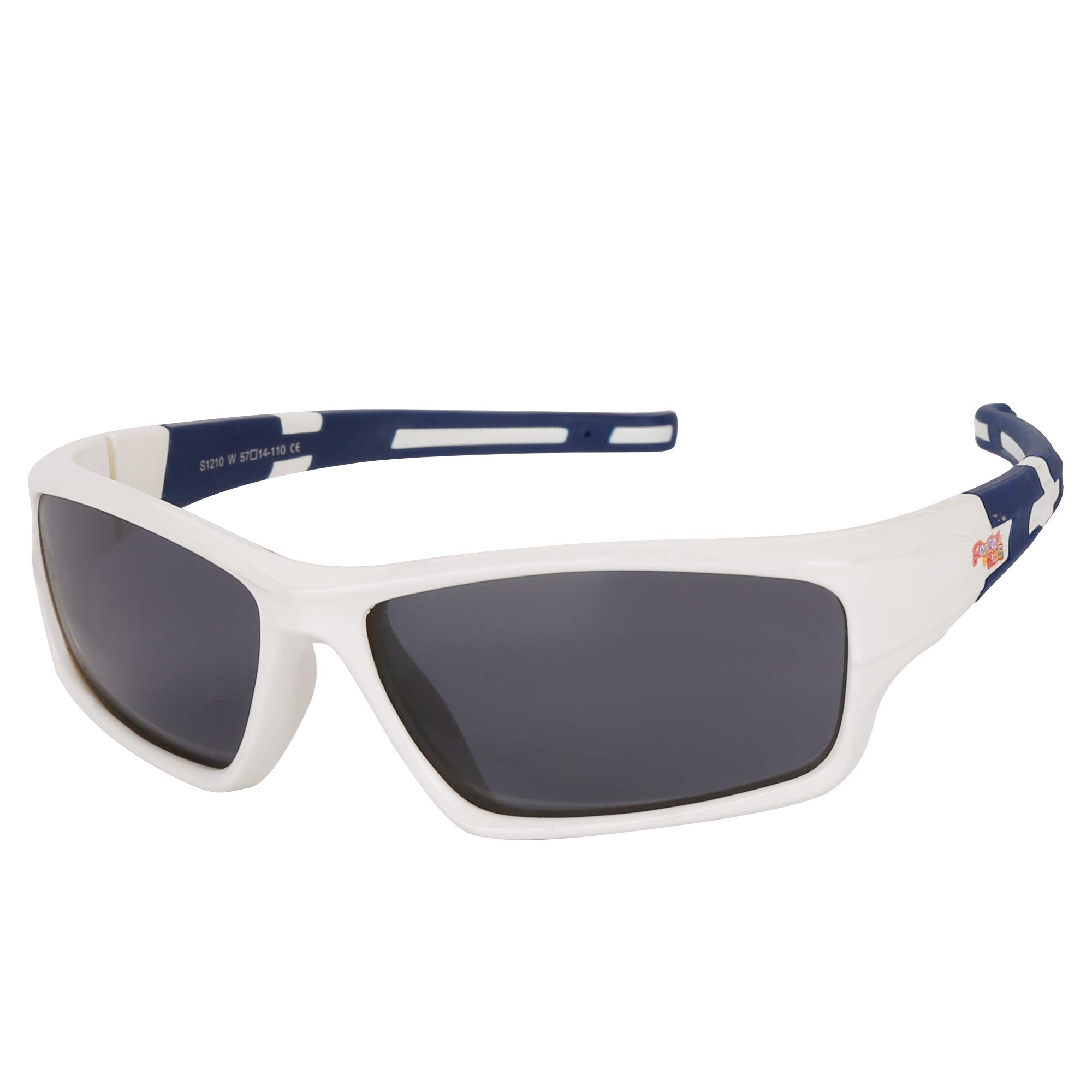 Kids Sports Style Polarized Sunglasses Rubber Flexible Frame For Boys And Girls Children Age 3-10 (white)