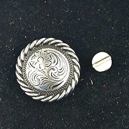 motif fleur Concho Pomcat 1/bouton /à vis Western argent/é vieilli et stri/é