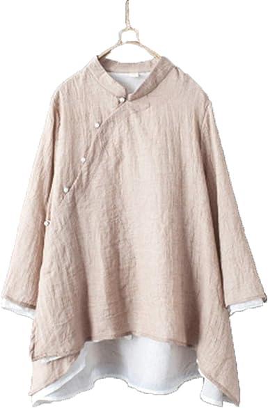 Auspiciousi Ropa de Estilo Chino Superior de Cheongsam Ropa Tradicional China para Mujer Camisa de Lino Superior Ropa de Lino para Mujer: Amazon.es: Ropa y accesorios