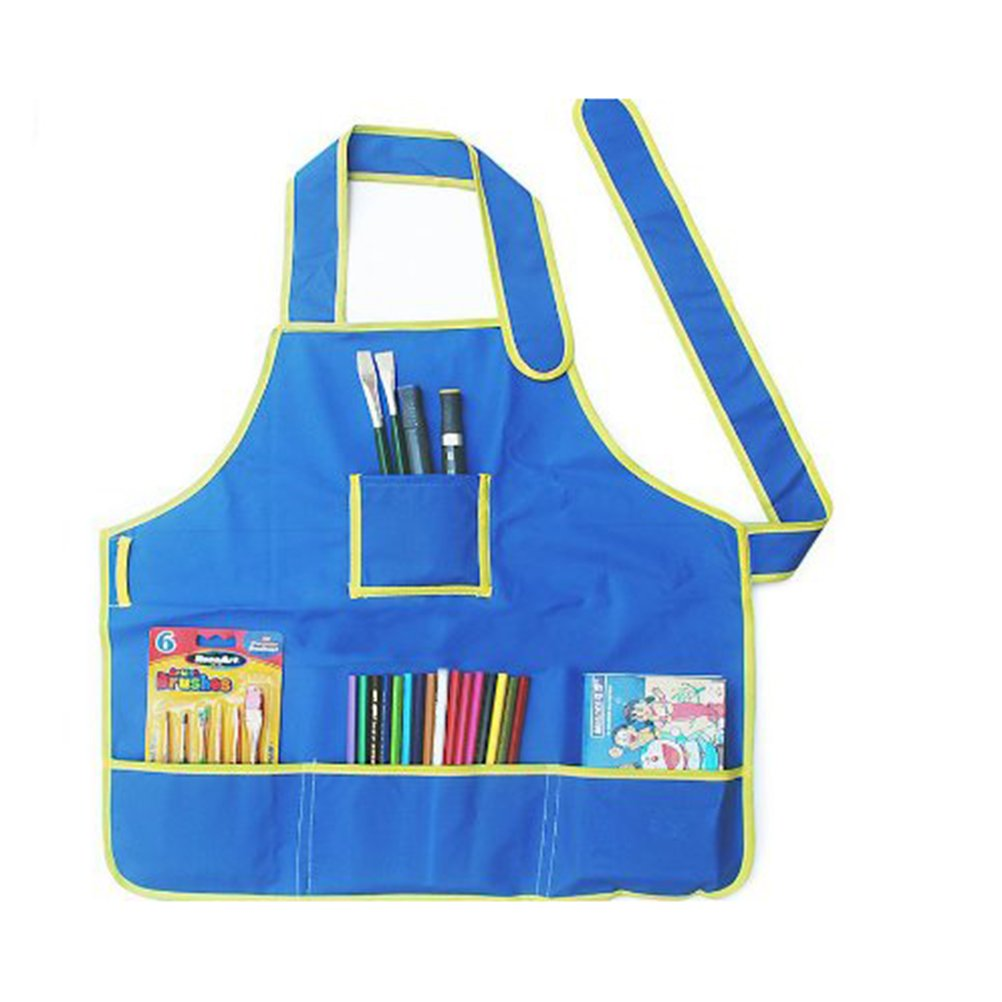 Foxnovo Children Kids Waterproof Art Craft Apron Smock for DIY Painting Drawing (Blue)