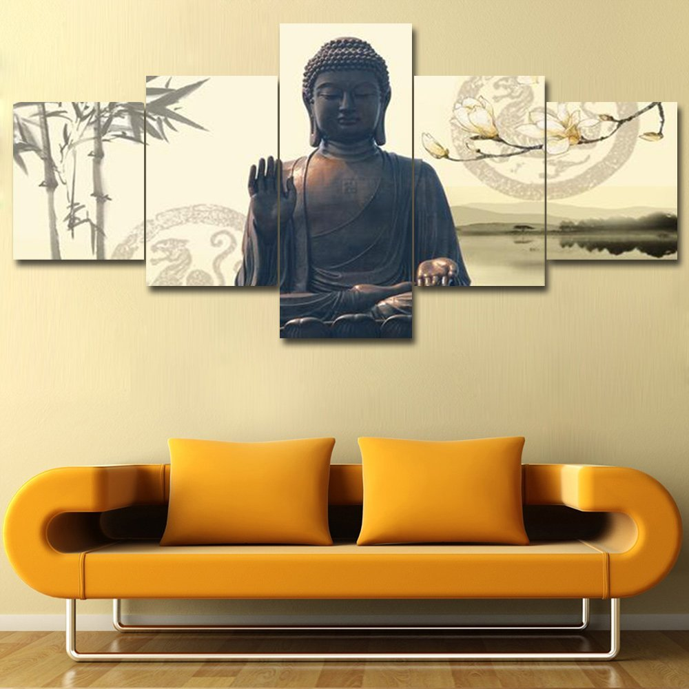 Amazon.com: Buddha Canvas Framed Wall Art for Living Room Ready to ...