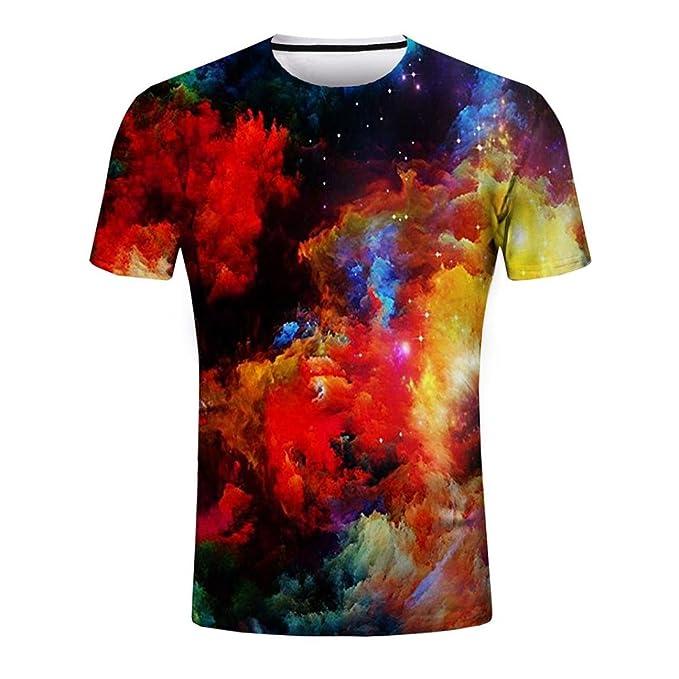 2c270a25d15fd4 Gusspower Herren Freizeit T-Shirt Modisch 3D Printing Tees Shirt Kurzarm O- Ausschnitt Schwarz Tops LHA17  Amazon.de  Bekleidung