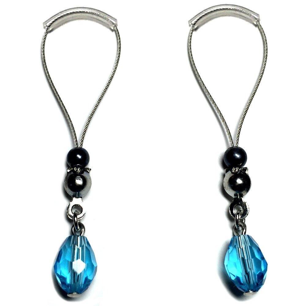BoDivas Nipple Noose Faceted Teardrop Non Piercing Body Jewelry Rings (Hawaiian Blue)