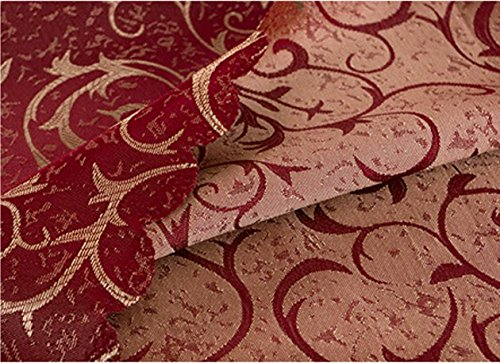 Uforme Classic Jacquard Floral Table Cloth Fabric Luxury Overlay Table Cover Round 70 Inch for Hotel, Burgundy
