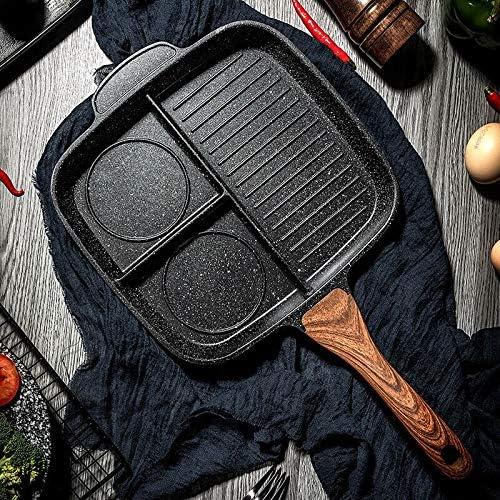 Poêles gril Petit-déjeuner Pot 3 Section repas Petit déjeuner Nonstick Skillet Poêle aluminium Plaque de cuisson Divisé Pan Cooker Outils de cuisine (Color : Light Grey) Black