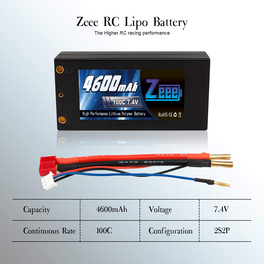 Zeee 2S Shorty Lipo 7.4V 100C 4600mAh Hardcase Lipo Battery with 4mm Bullet Deans Ultra Plug Connector for RC 1/10 Scale Vehicles Car,Trucks,Boats by Zeee (Image #3)