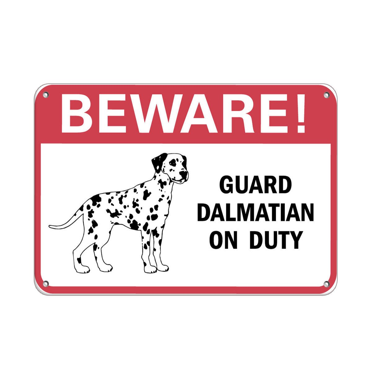 Beware! Guard Dalmatian On Duty Pet Animal Sign LABEL DECAL STICKER Sticks to Any Surface 10x7 by Cortan360