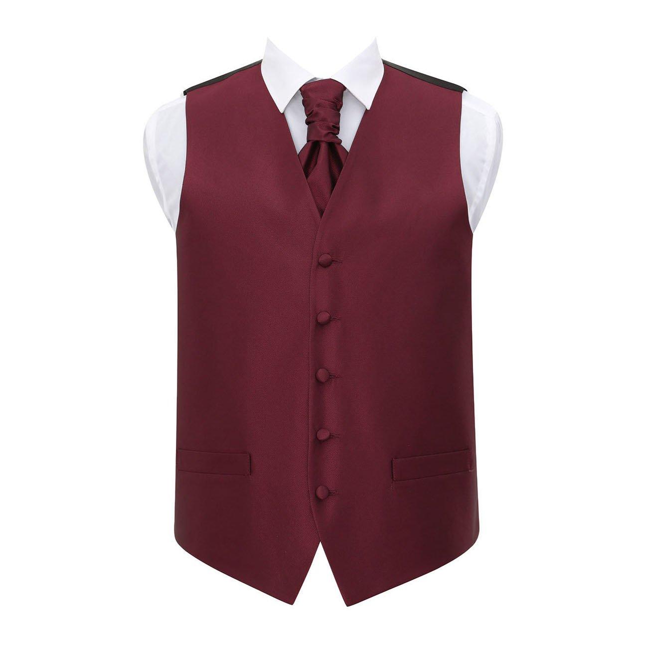 DQT Men Solid Check Plain Waistcoat and Cravat with Cravat Pin
