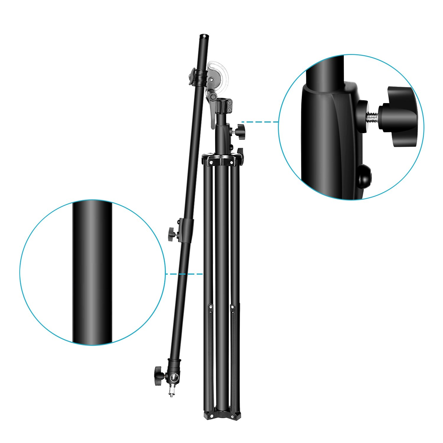 Silver Neewer Photo Studio 2-in-1 Light Stand 48.4-151.5 inches Adjustable Height with 85-inch Boom Arm and Sandbag,Aluminum Alloy,for Supporting Umbrella Softbox Flash for Portrait Video Photography