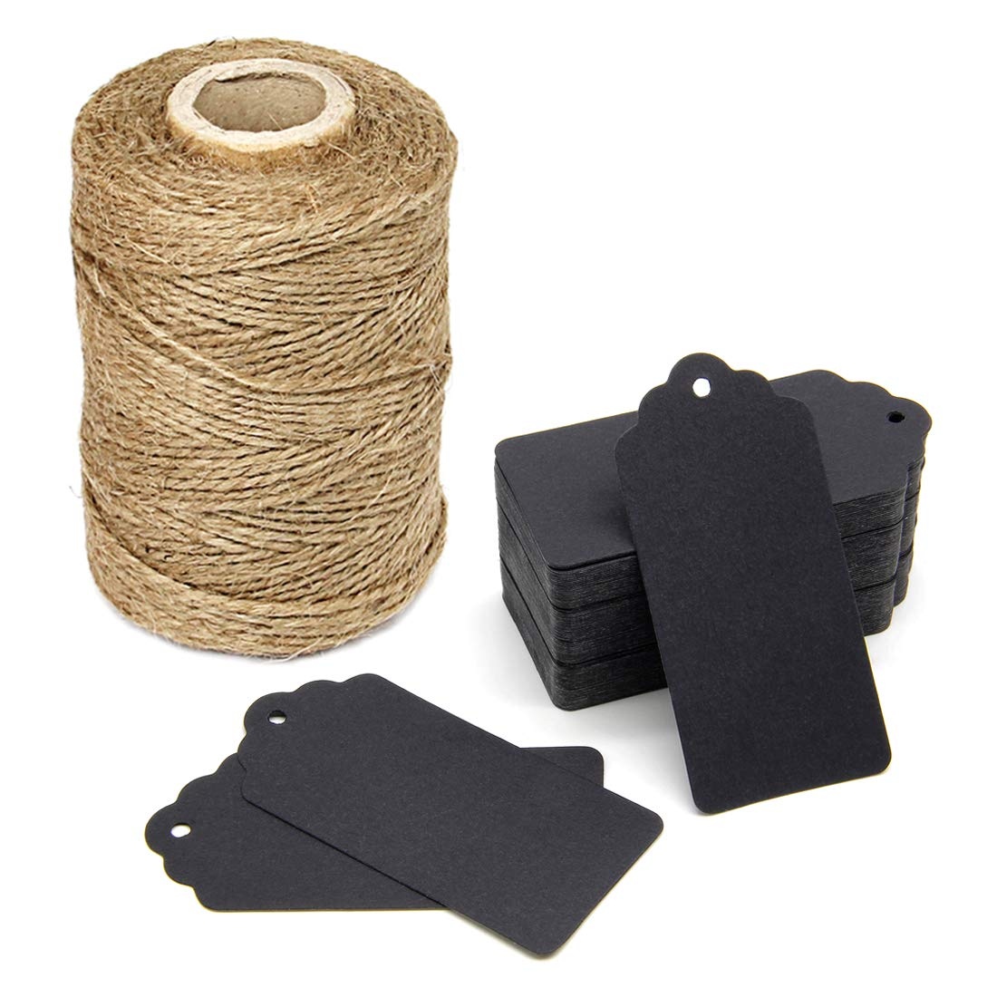300 Feet Natural Jute Twine and 100PCS White Gift Tags & Price Tags Lables by Blisstime