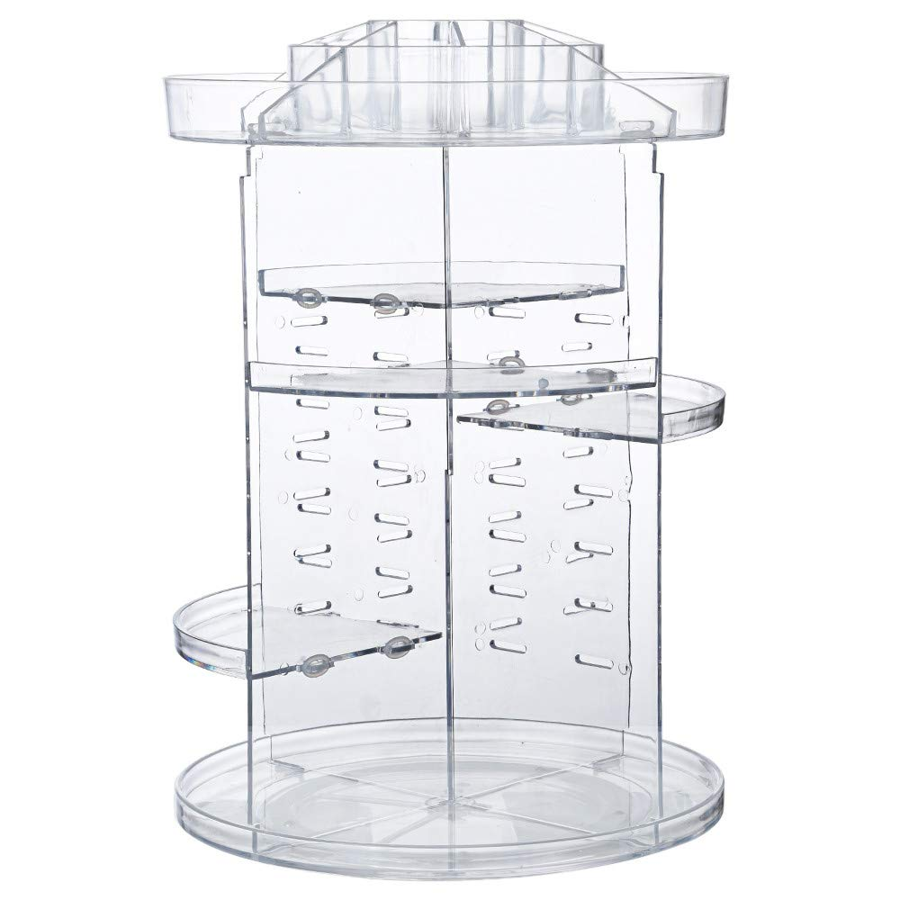 Quelife Makeup Storage Box Organizer 360°Transparent Rotating Cosmetic Case Acrylic Cosmetics Storage Stand