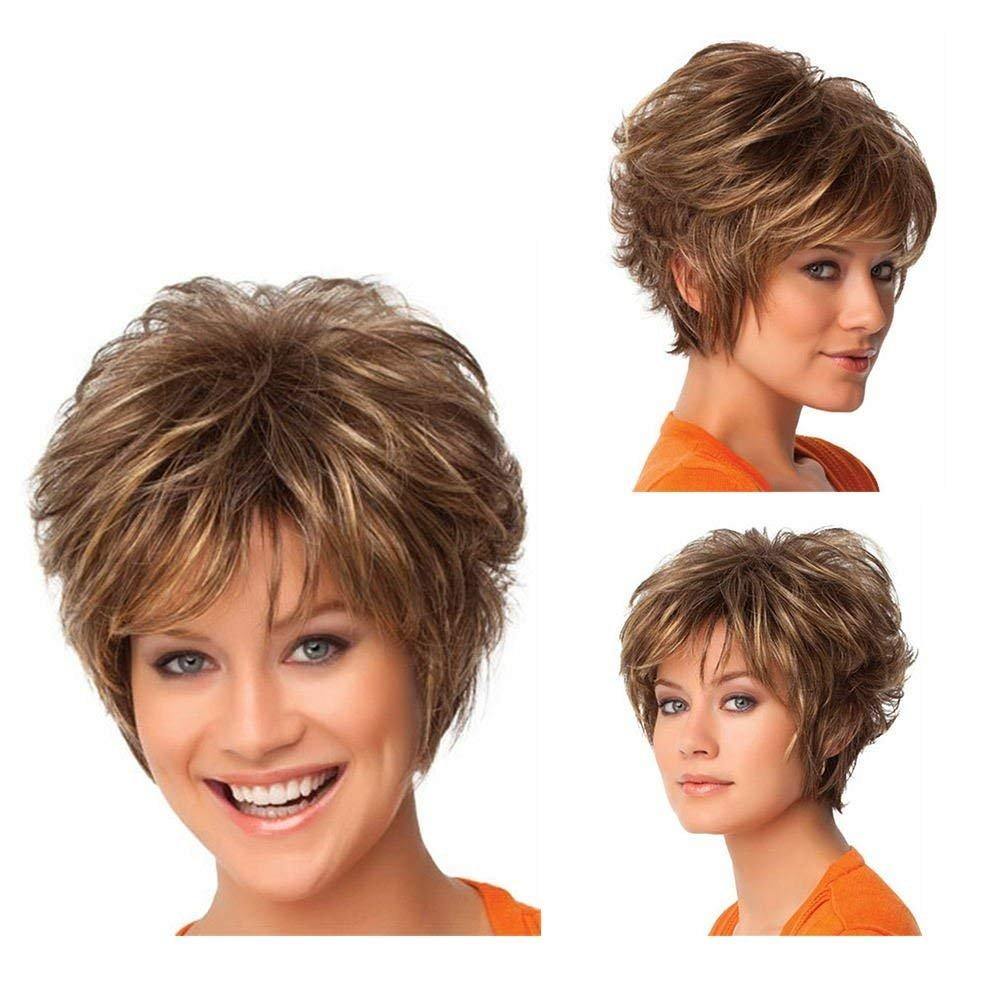 Royalfirst donne Lady New corto capelli mossi parrucca resistente al calore