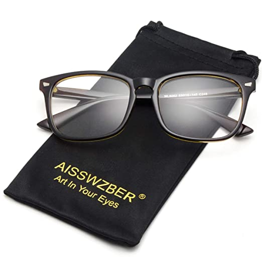 a09d1c62e5b Amazon.com  aisswzber Square Non-Prescription Glasses Clear Lens ...