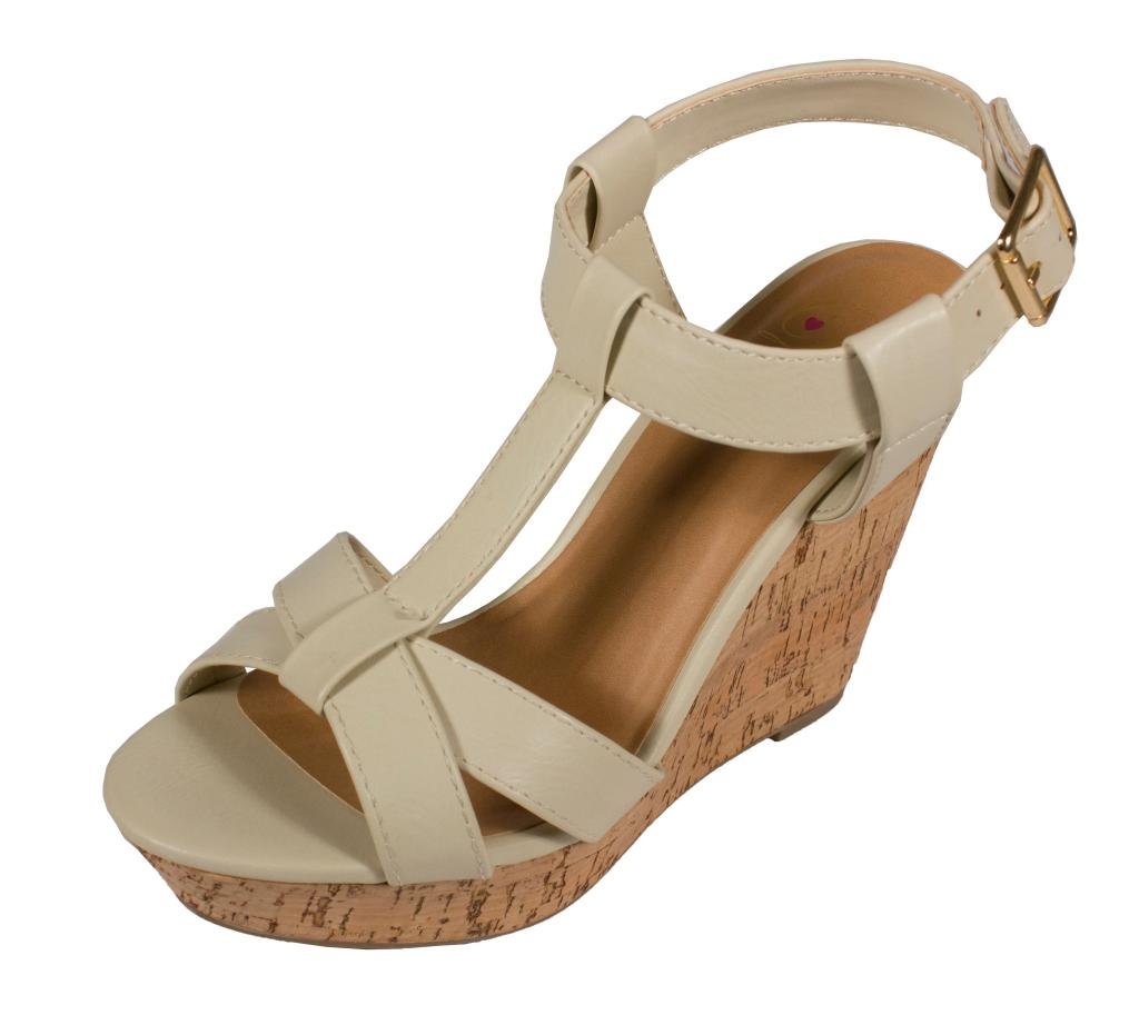 Delicious Johanna! Women's Peep Toe T-Strap Slingback Platform Wedge Sandals B014TEMD84 6 B(M) US|Off White Leatherette