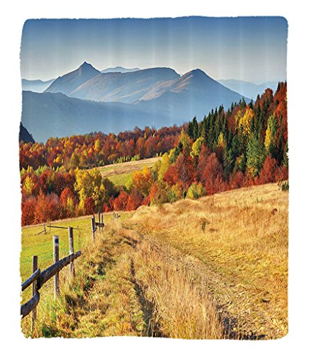 Chaoran 1 Fleece Blanket on Amazon Super Silky Soft All Season Super Plush Decorations Collection Woodsy Countryside Fences Farmunny Warm Fall Weather Calming View Fabric et Paprika (Elvis Side Burns)