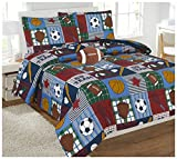 Elegant Home Patchwork Sports Football Basketball Baseball Soccer Design Reversible 8 Piece Comforter Bedding Set Boys/Kids Bed in a Bag Sheet Set & Decorative Toy Pillow # Rugby (Full)