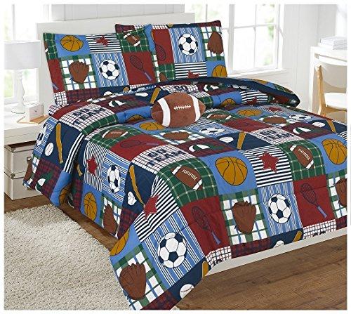 Elegant Home Patchwork Sports Football Basketball Baseball Soccer Design Reversible 8 Piece Comforter Bedding Set Boys/Kids Bed in a Bag Sheet Set & Decorative Toy Pillow # Rugby (Full)