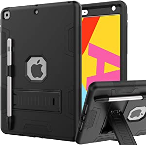 iPad 8th Generation Case, iPad 7th Generation Case, iPad 10.2 Case, Hybrid Shockproof Rugged Drop Protection Cover Built with Kickstand for iPad 10.2 Inch 7th/8th Generation (Black)
