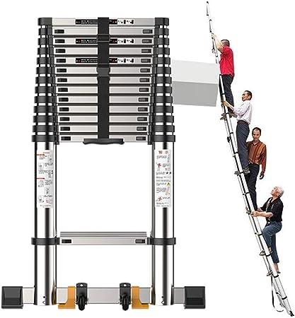 Escalera telescópica Muy Alto Sube Barra estabilizadora, Portátil de Aluminio Negro Escalera de extensión para ático/Techo/Exterior/Industrial, Carga 150kg: Amazon.es: Hogar