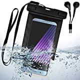 fish earbuds - Black Waterproof case for LG V20 / V10 / G5 / G5Plus / G6 with Neck Lanyard + Color Matching EarBud with Mic