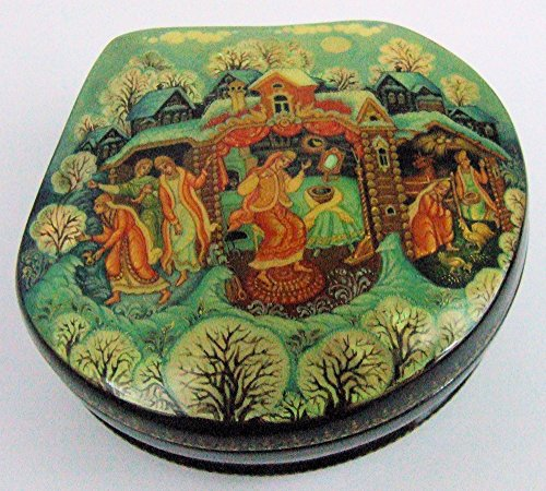 Palekh Hand Painted Russian Lacquer Box Susal'noe Zoloto Making a Fortune by Kornilova