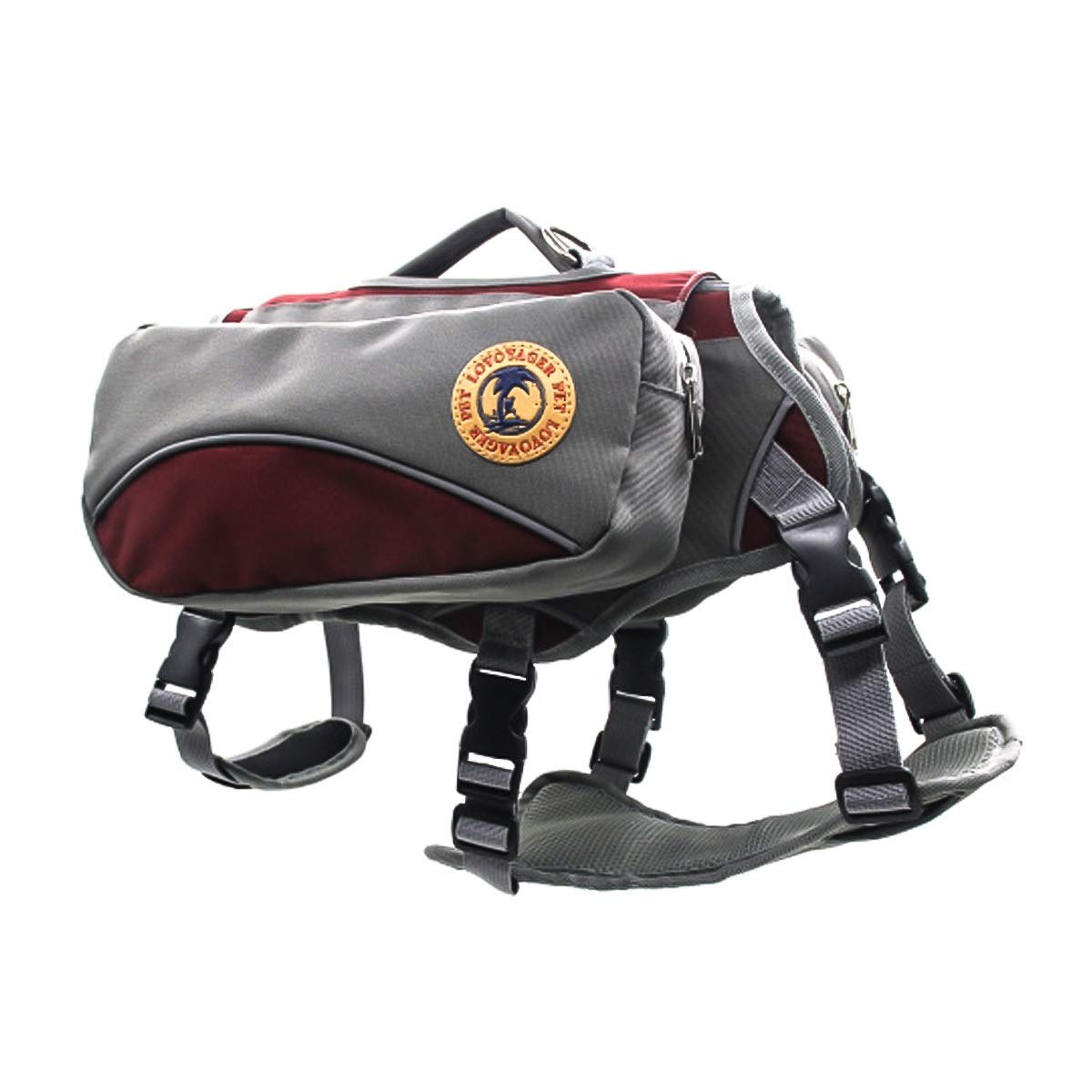 Red L Red L Portable Outdoor Pet Saddle Bag Dual-use Dog Backpack Camping Carry Bag for Training Hiking Travel (color   Red, Size   L)