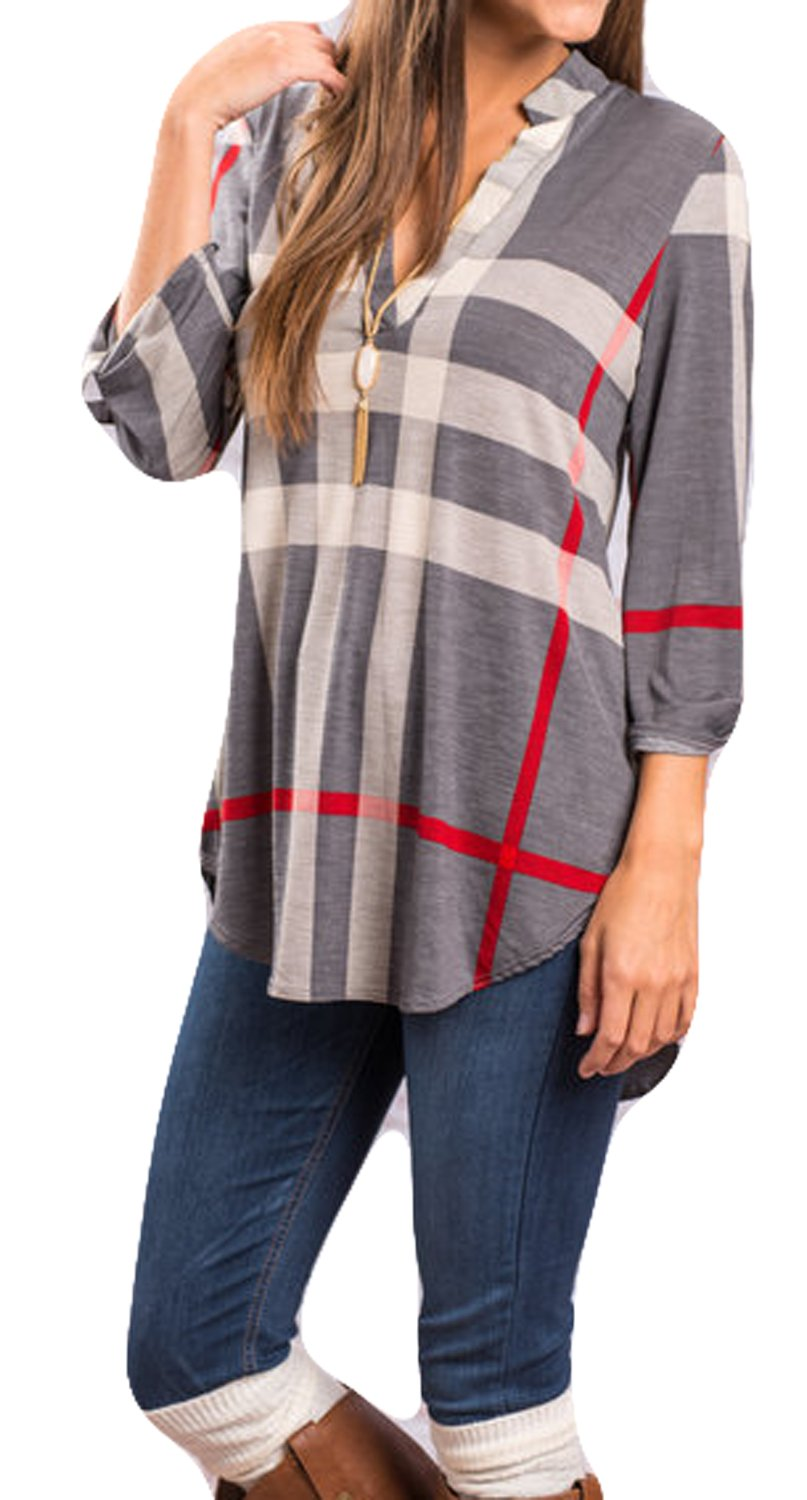 POGTMM Plaid Long Sleeve Tops for Women High Low Hem Blouses(L, Gray)