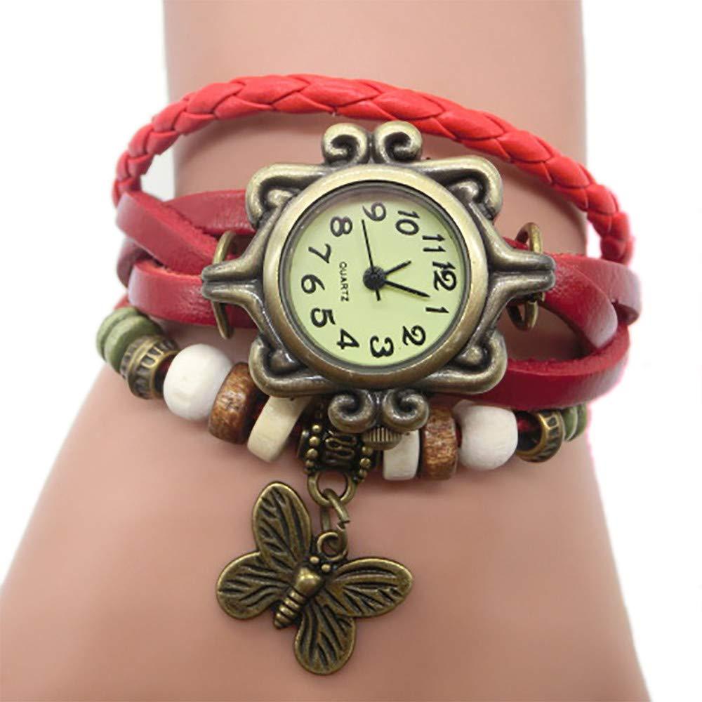 Pocciol Brown Retro Weave Wrap Lady Bead Butterfly Dangle Bracelet Bangle Quartz Wrist Watch (Red) by Pocciol Cheap-Nice Watch (Image #2)