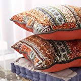 mixinni Bohemian Style Jacquard Style Cotton Linen Red Throw Pillow Cover 2 Pieces 18''x18'' - Uses for Sofa/Chair/Bed