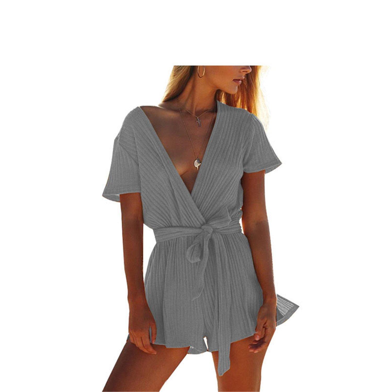 Women Rompers Jumpsuit Bandage Jumpsuit Bodysuit Slim Knit Romper Gray XL