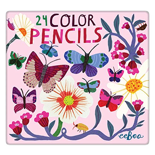 eeBoo Butterflies and Flowers Colored Pencils in Tin Case, Set of (Eboo Colored Pencils)