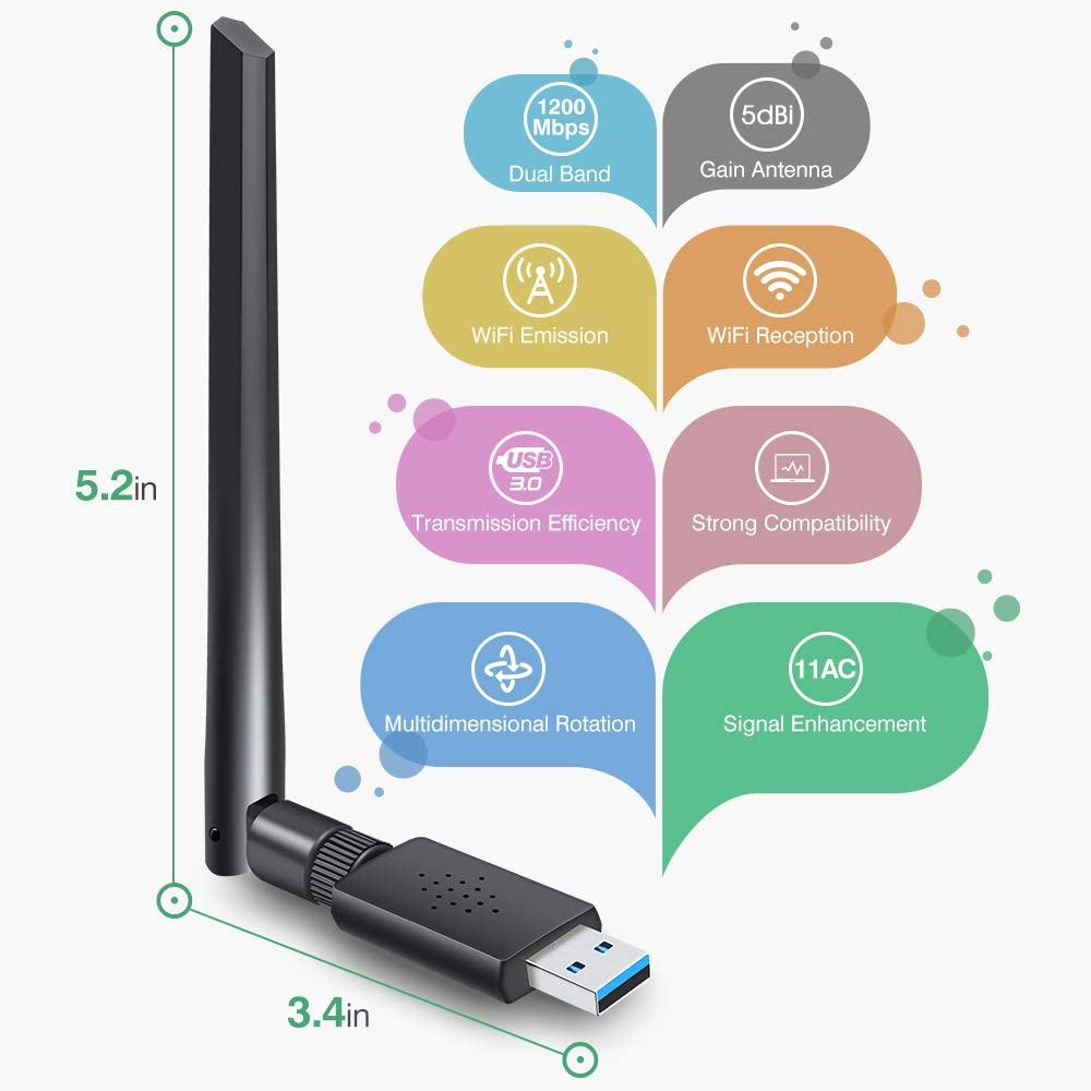 Wireless Network WiFi Dongle with 5dBi Antenna for PC//Desktop//Laptop//Mac Dual Band 2.4G//5G 802.11ac,Support WinXP//7//8//10//vista Mac10.6-10.14 Carantee USB 3.0 WiFi Adapter 1200Mbps
