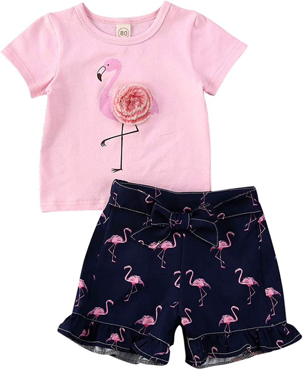 Gyratedream Floral Print T-Shirt Tops+Shorts Costume Set for 3m-3.8T