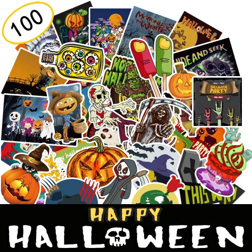 Exmott 100 Pieces Assorted Halloween Stickers Halloween Decoration Stickers Self Adhesive Shapes for Halloween Party Decoration