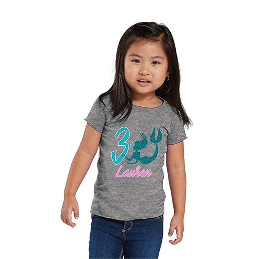 NanyCrafts Personalized Mermaid Birthday Glitter Girls Shirt 6M Heather