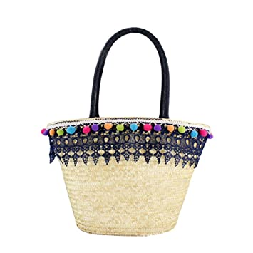 663dbd17da307 JEELINBORE Bolso de paja Chic Bohemia para Mujer Bolsos de Mano de Verano  Playa con Encaje Chicas Borla Bolsos Totes Shoppers (Azul