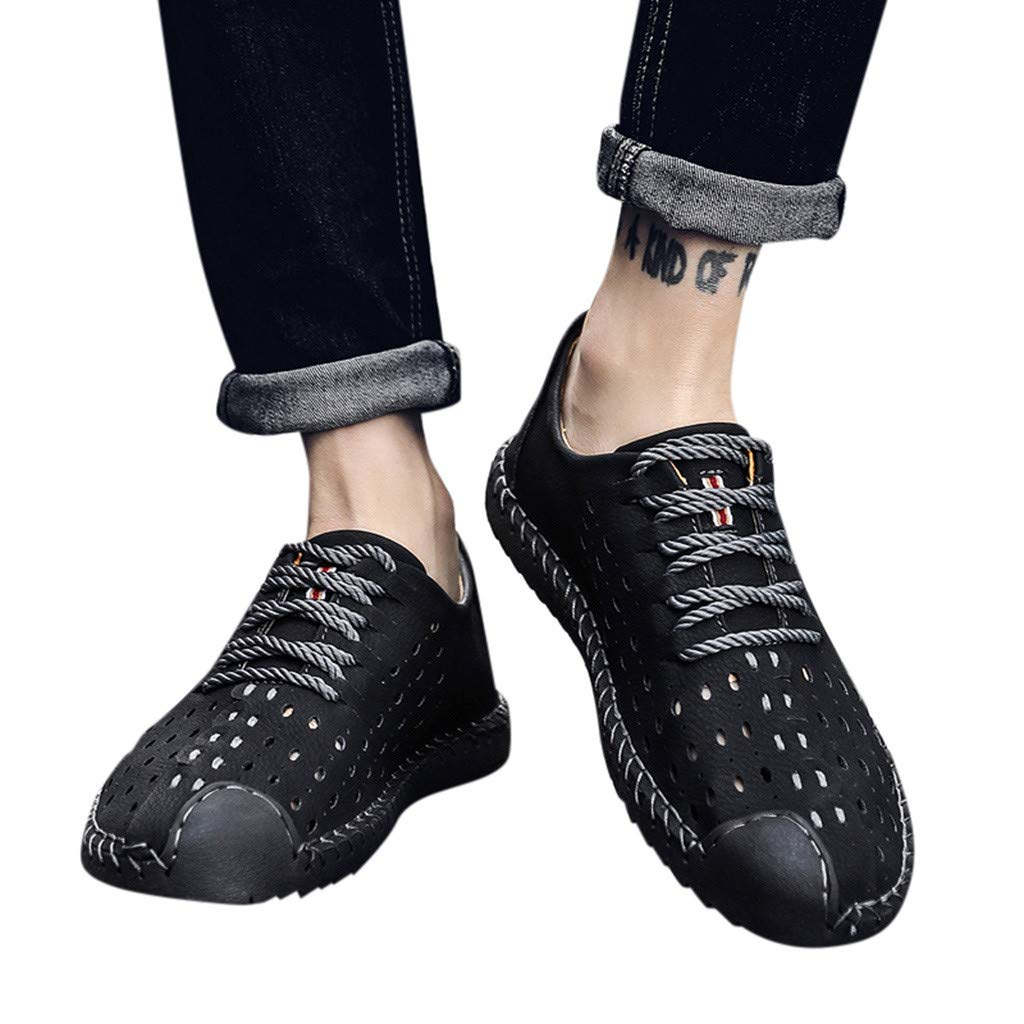 Men's Fashion Oxford Lace up Dress Shoes Hollow Leather Shoes Driving Loafers Slip On Wear-Resistant Walking Shoes (US:10.5 (46), Black) by Dasuy