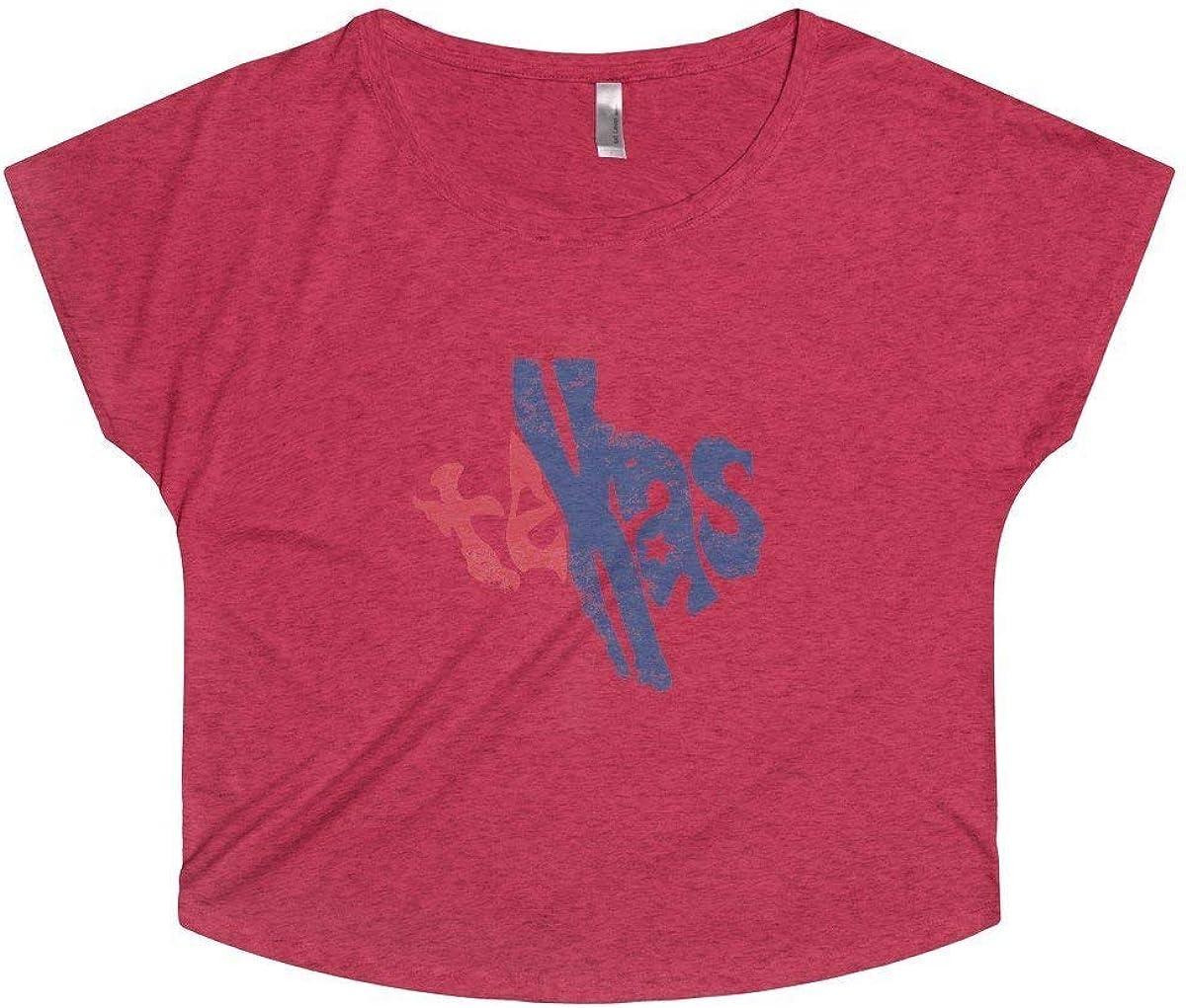 Texas State Red White /& Blue Womens Tri-Blend Dolman Tee