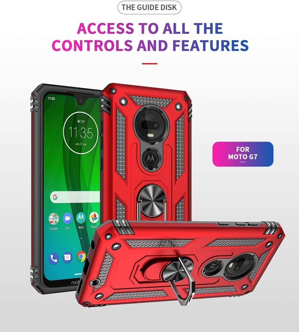 Military Grade Drop Impact for Motorola Moto G7 Case,Moto G7 Plus Case 360 Metal Rotating Ring Kickstand Holder Magnetic Car Mount Armor Shockproof Cover for Moto G7 Protection Case Red