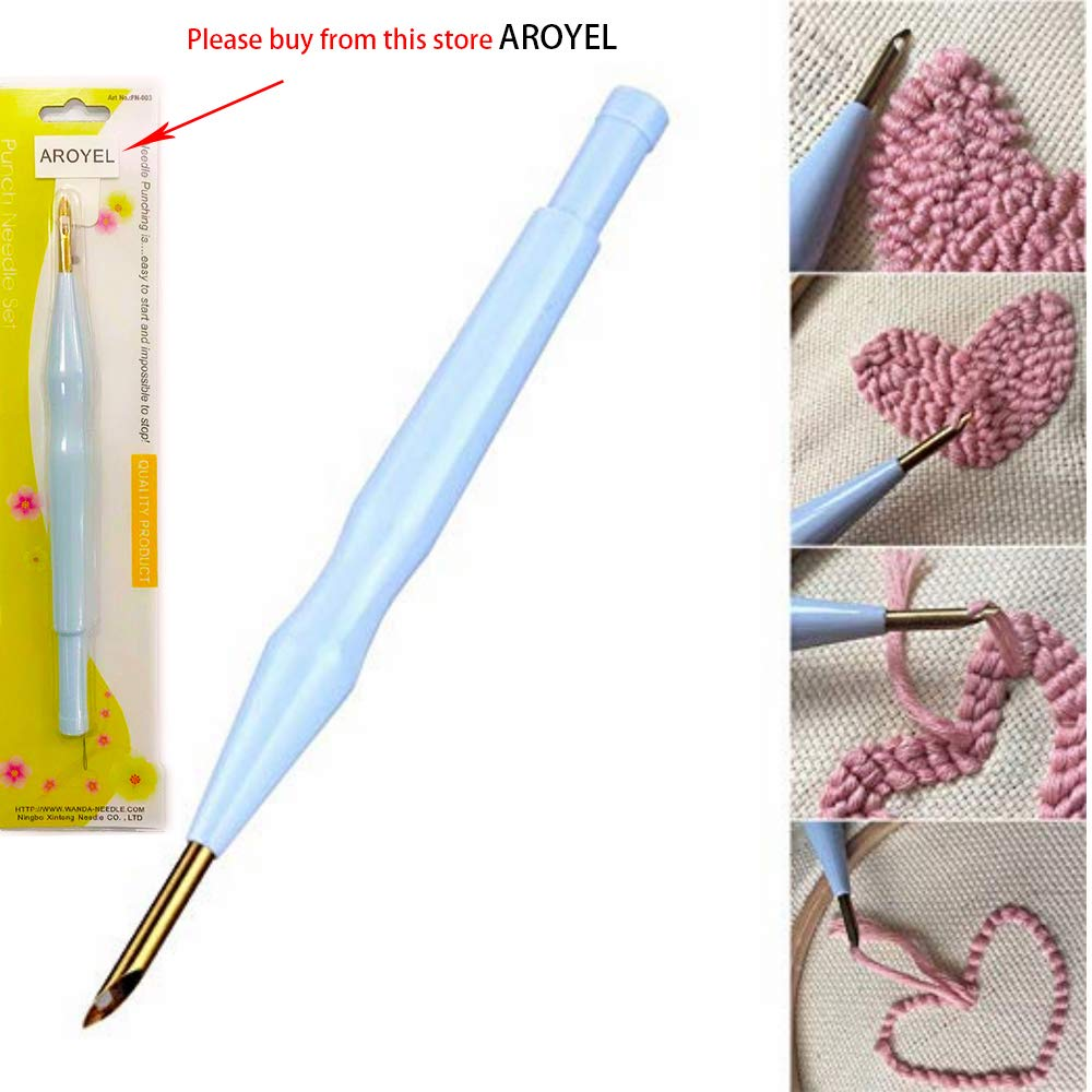 AROYEL New Style Magic Wooden Handle Embroidery Pen Punch Needle Set Punch Needle Felting Threader Needles Craft Tools DIY Craft for Embroidery Threaders DIY Sewing