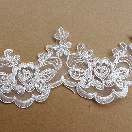 Used, 5 yards off white robin lace trim 8cm width wedding for sale  Delivered anywhere in Canada