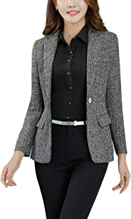 MFrannie Womens Cotton & Linen Tweed Blazer One Button Office Work Jacket