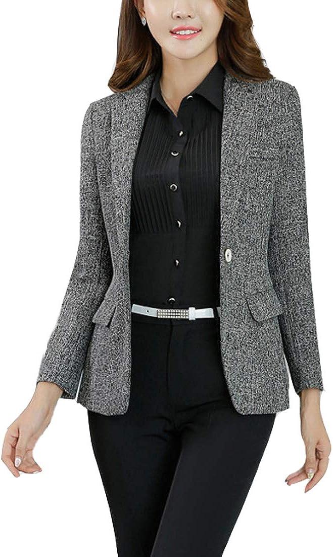MFrannie Womens Cotton & Linen Tweed Blazer One Button Office Work Jacket