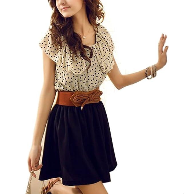 1577c4768508 Donna Abito Vestito Estivo Pois Manica Corta Giallo Chiaro Taglia S:  Amazon.it: Abbigliamento