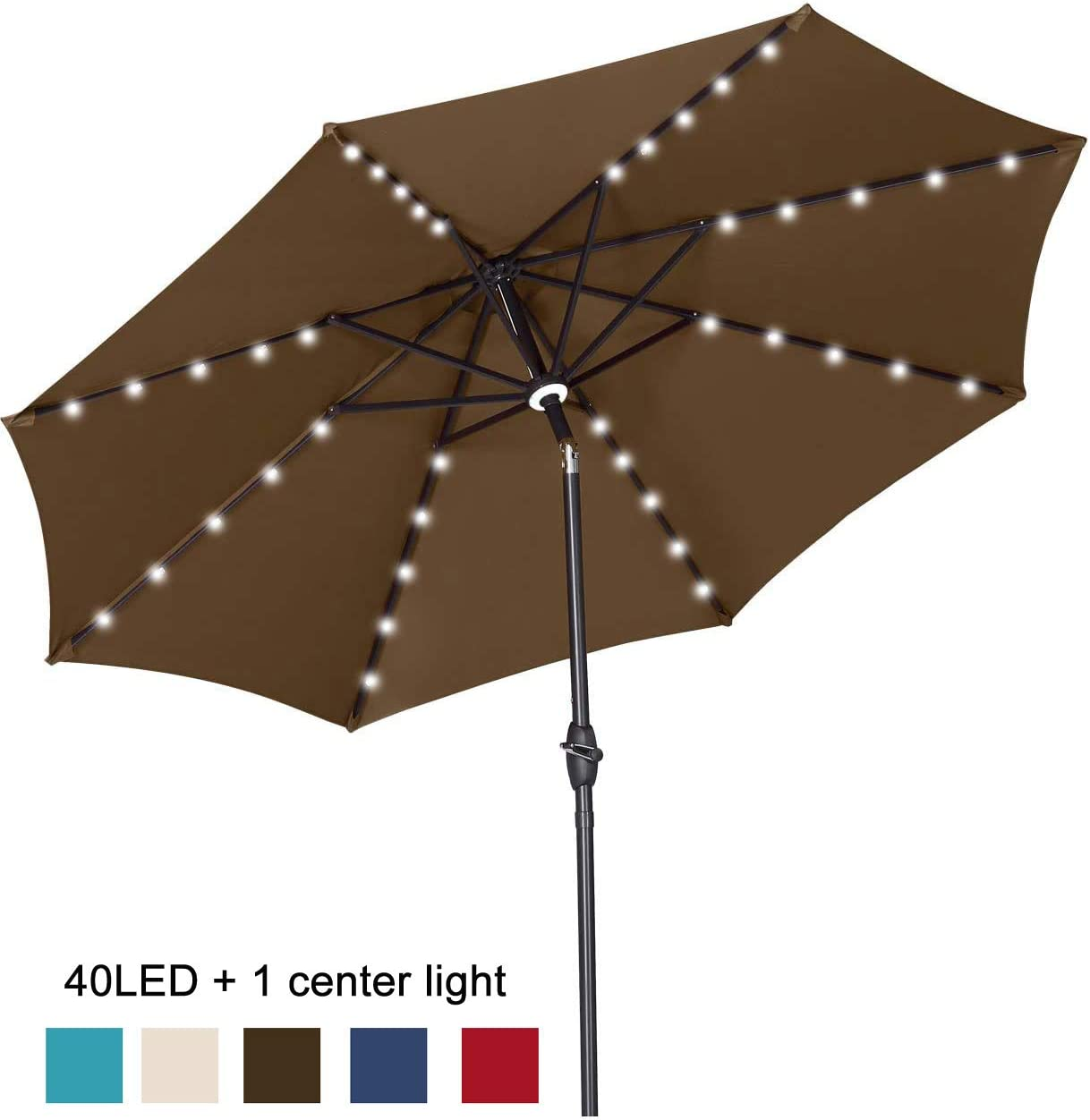 GDY 10Ft Patio Umbrella Solar Powered 40 LED Lighted Aluminum Outdoor Table Market Umbrella with Tilt and Crank Coffee