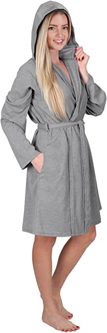 Details about  /LADIES SPOT PRINT HOODED FLANNEL FLEECE GOWN WITH SHERPA LINING Bath Robe Winter